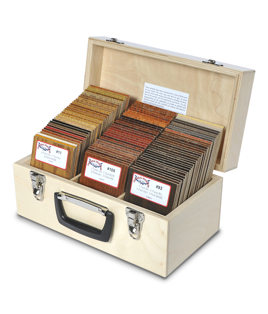 General Finishes Ready-To-Match (RTM) Water Based Wood Stain System Color Chip Box - Oak
