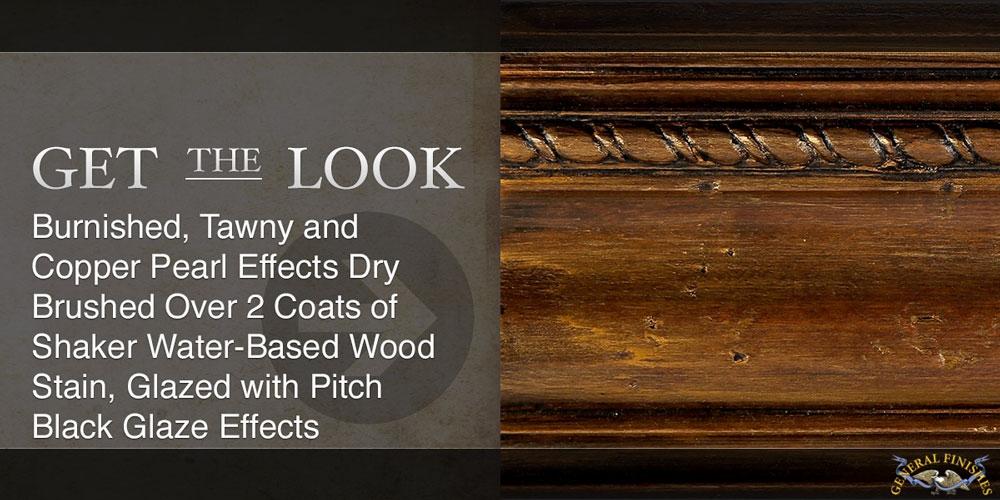抛光的, 茶色和铜珍珠效果干刷2层摇床水基木材染色, 釉面沥青黑釉效果