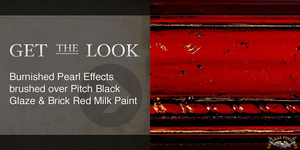 Burnished Pearl Effects brushed over 1 coat of Pitch Black Glaze Effects and Brick Red Milk Paint