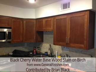 staining kitchen cabinets general finishes black cherry waterbase wood stain on 2462
