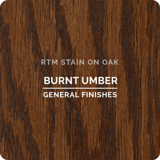 General Finishes RTM Wood Stain Stock Color - Burnt Umber (ON OAK)