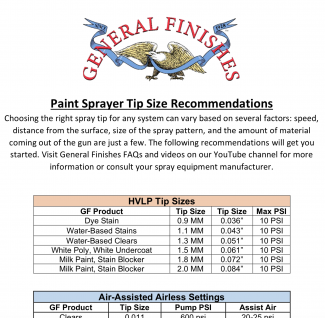 Spray Tip Guidelines from General Finishes