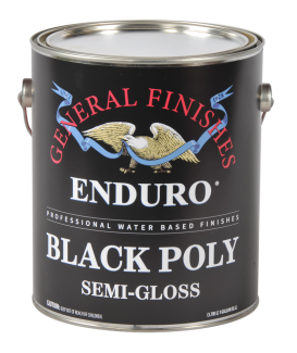General Finishes Satin Water Based Pigmented Topcoat Enduro Black Poly, Gallon, Semi-Gloss